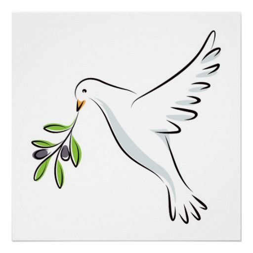 Friday 17 July 2015 ~ Pinned from Sally Sulcove [*PIN OF THE DAY @ Annette Deux] | Peace dove with olive branch posters