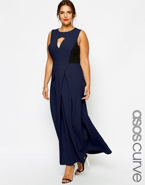 ASOS CURVE Exclusive Maxi Dress With Pleat Front And Cut Out