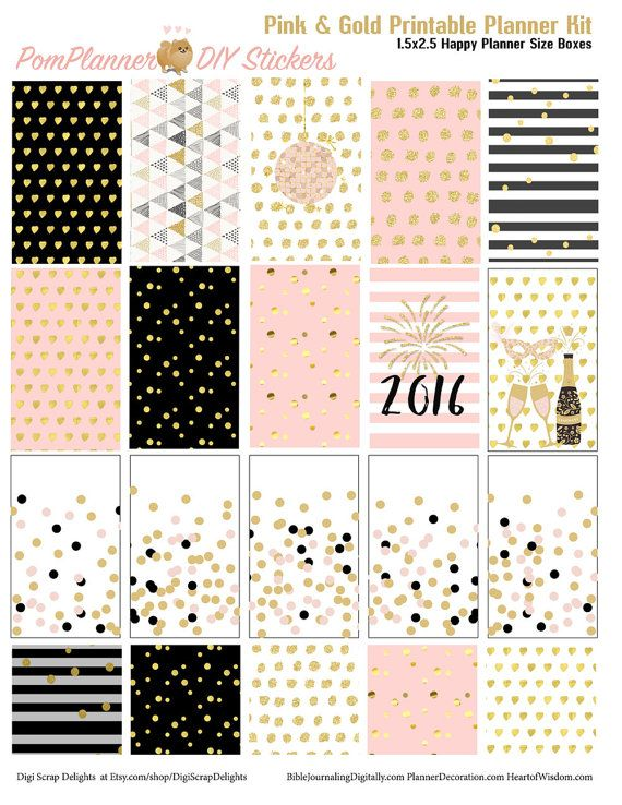 Pink Gold New Year Printable Planner Kit 5 by DigiScrapDelights #newyears #january #pink #gold #printable #plannerlove #planneraddict #plannerstickers