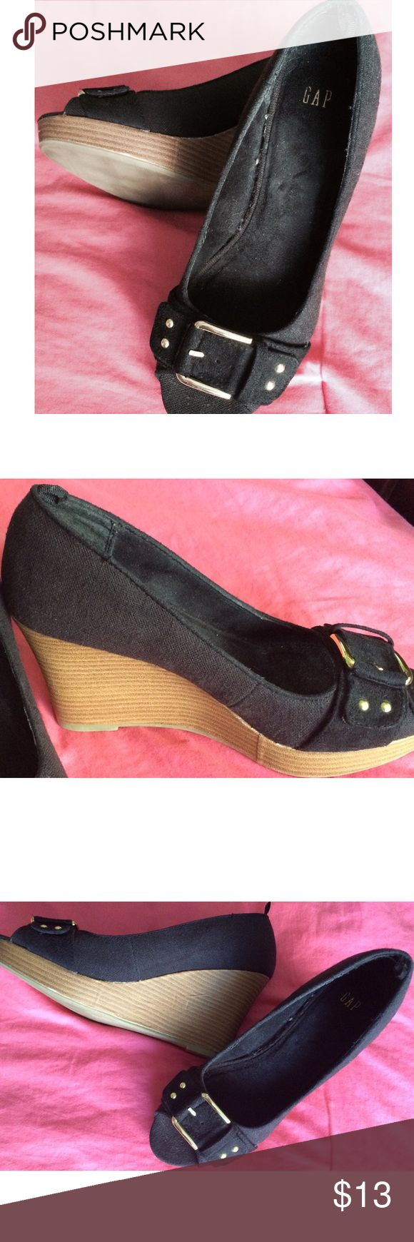 "Gap - Open Toe, Wedge Shoe. Open toe wood trim wedge shoes in black with a gold tone buckle by Gap.  These have been worn one time and are in like new condition. The wedge measures from top of wood trim to bottom; 4"". Gap Shoes Wedges"