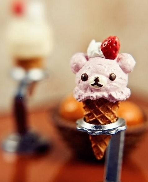 Bear ice cream.Desserts, Kawaii, Sweets, Food, Inspiration Pictures, Eating, Icecream, Ice Cream Cones, Bears Ice