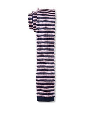 Desanto Men's Stripe Knitted Tie, Navy/Pink