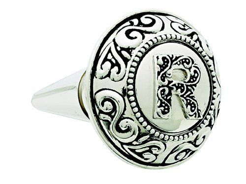 """Ganz Monogram Bottle Topper - R by Ganz. $13.99. Made of Zinc alloy. Decorative and Functional. 3"""" with Rubber Stopper. Elegant monogram design on this 3 inch zinc alloy wine bottle topper with rubber stopper. Perfect for the wine-lover on your list."""
