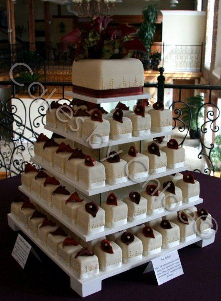 Elegant Fall Modern Summer Winter Burgundy Ivory Cupcakes Multi-shape Wedding Cakes Photos & Pictures - WeddingWire.com