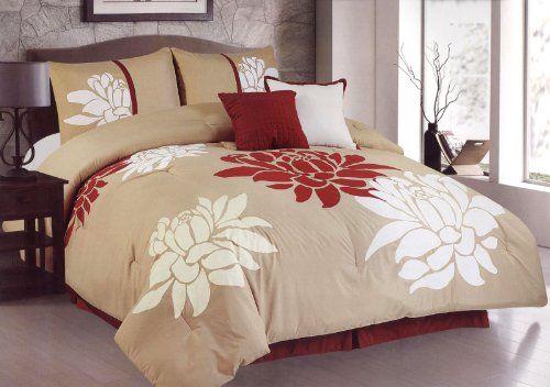 6 Pcs Big White Red Flower Comforter Set Bed In A Bag King