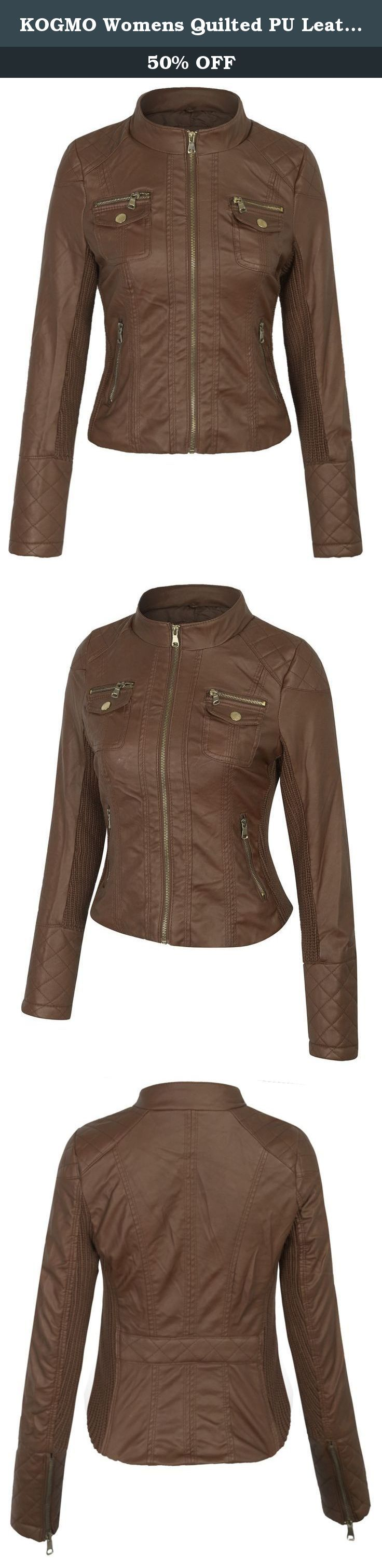 KOGMO Womens Quilted PU Leather Jacket with Removable Hoodie-L-COGNAC_BROWN. KOGMO Womens Quilted PU Leather Jacket with Removable Hoodie.