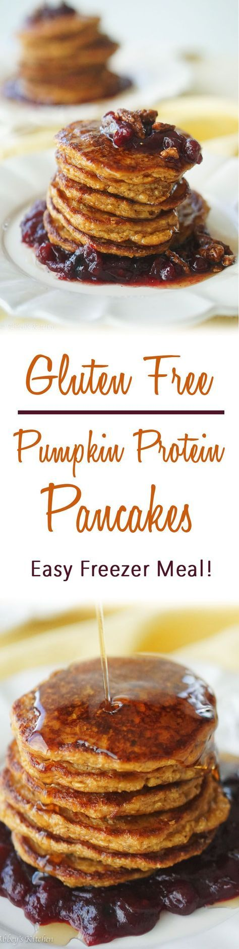 These Gluten Free Pumpkin Protein Pancakes are a delicious way to start your day, and are an easy freezer meal!