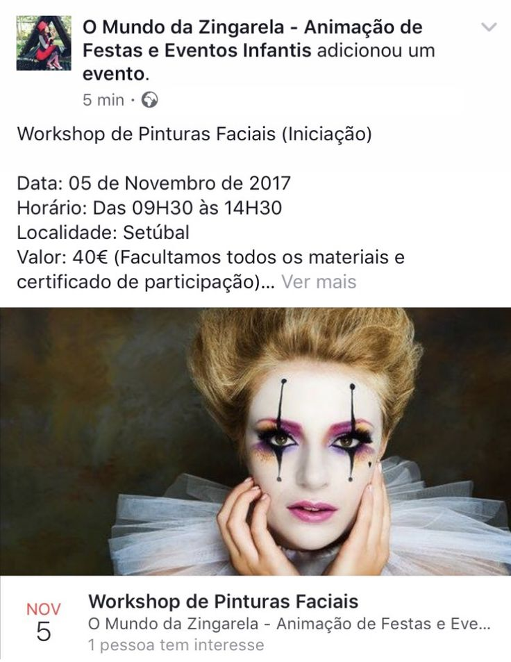 Workshop de Pinturas Faciais  omundodazingarela@gmail.com www.omundodazingarela.com