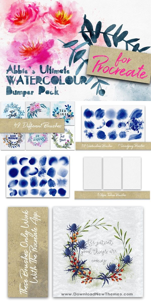 Procreate Watercolour Bumper Pack Photoshop Brushes Watercolor
