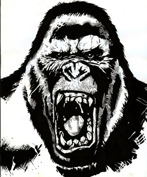 angry gorilla head drawing - photo #9