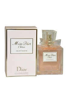 Miss Dior Cherie Perfume comes in a chic glass bottle that reinterprets the classic spirit of Miss Dior with a modernized metal bow on front. Top notes of green tangerine and strawberry leaves. Heart notes of violette pink jasmine carmelized popcorn and strawberry sorbet. Base notes of fresh patchouli and crystalline musk...I love it!