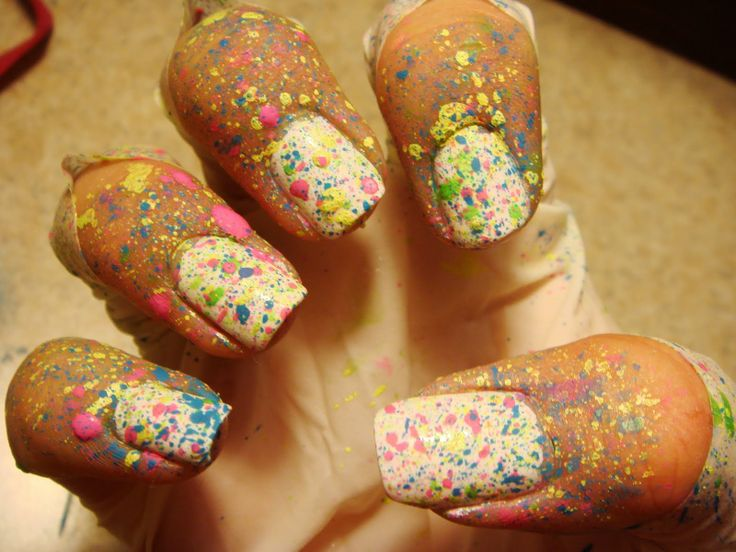 paint splatter nails... Is it weird I like the paint on the skin too?