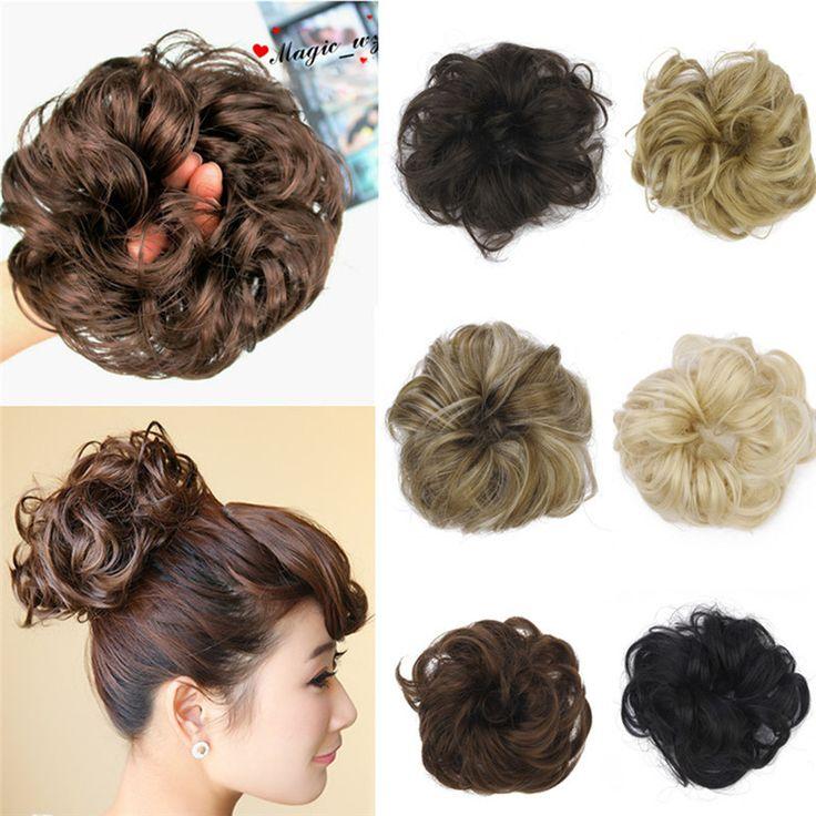 1 ADET Saç Chignon Elastik Saç Halat Sentetik Saç Bun Uzatma Kıvırcık Dalgalı Scrunchee Donunt Çörekler Saç Aksesuarları Kadınlar için