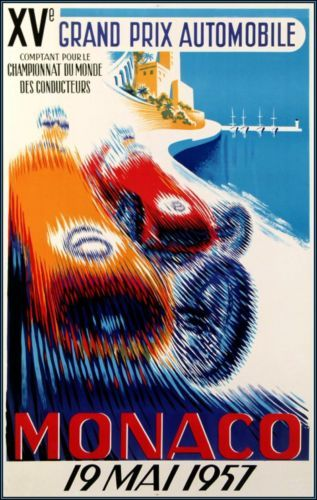 Monaco 1957 Grand Prix Automobile Racing http://stores.ebay.com/Vintage-Poster-Prints-and-more