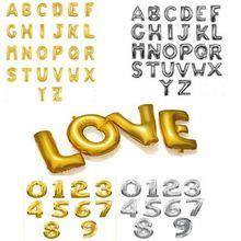 """1 stuks 16"""" schattige zilveren gouden folie alfabet az letters nummer 0-9 nieuwe jaar verjaardag partij ballonnen liefde bruiloft decoratie ballon(China (Mainland))"""