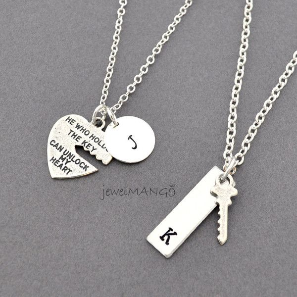key to my heart, COUPLE necklace, mr. mrs.,hand stamping jewelry, His... (120 PEN) ❤ liked on Polyvore featuring couples