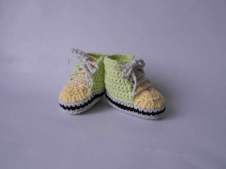 Baby Sneakers Crochet http://etsy.me/2mZFLqQ #clothing #children #boy #green #yellow #36months #boots #booties #sneakers