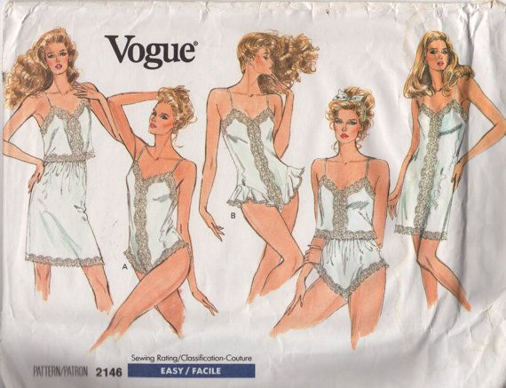 1980s Vogue 2146 Misses Lingerie Pattern Full and Half Slip Camisole Panties and Teddy womens vintage sewing patten by mbchills