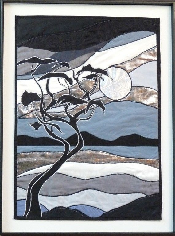 Fabric collage quilted wall hanging silver moon grey white black arbutus tree