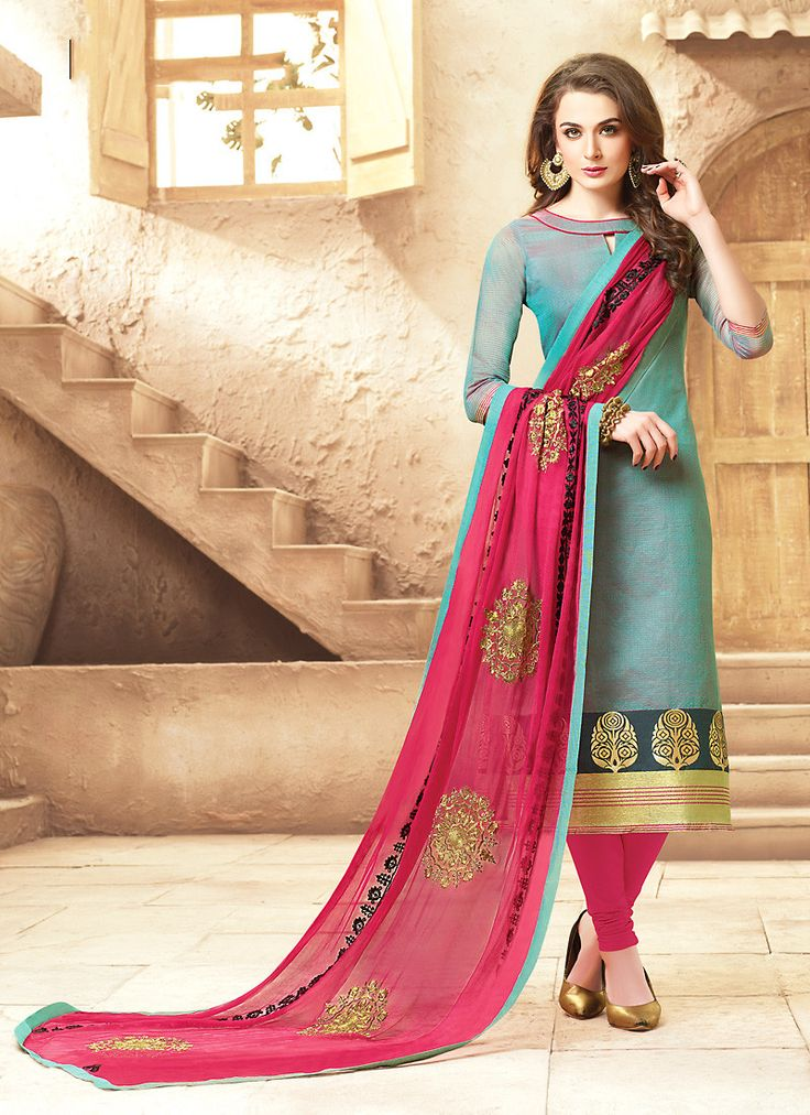 Straight Cut Style Blue with Thread Work Incredible Unstitched Salwar Kameez