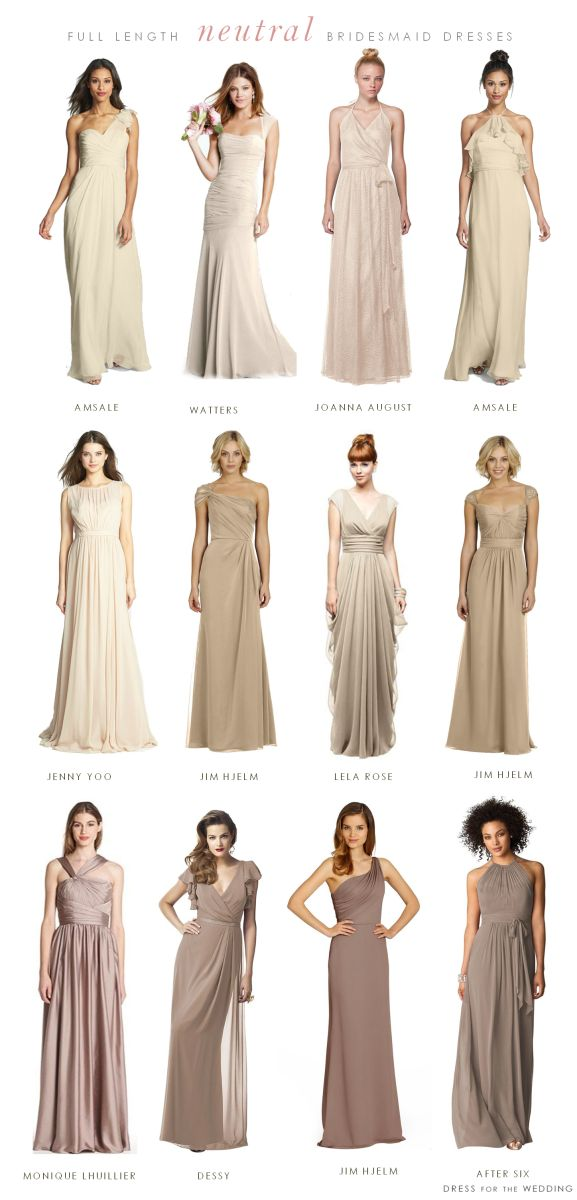 Mismatched Neutral Bridesmaid Dresses- Imagine that in Mint green.