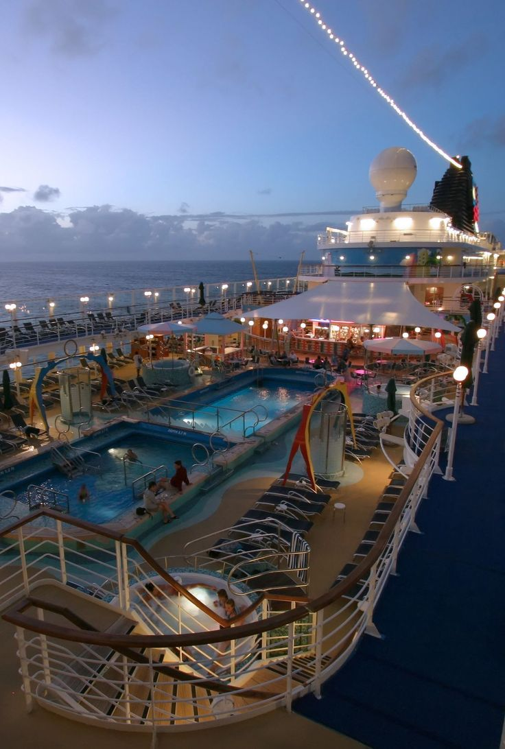 Cruise ship deck after sunset Beautiful cruise ships at