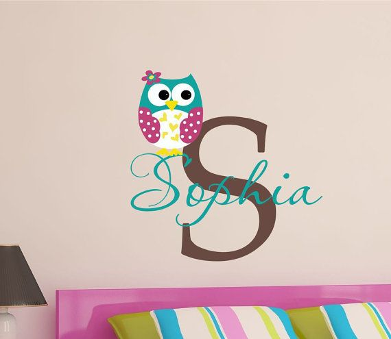 Custom Owl Name Vinyl Wall Decal - Ows Wall Art- Pottery Barn - Love and Nature - Boy Girl Nursery