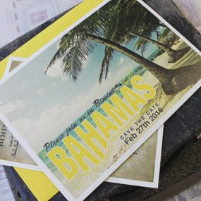 Vintage Travel Postcard Wedding Invitation (Bahamas)
