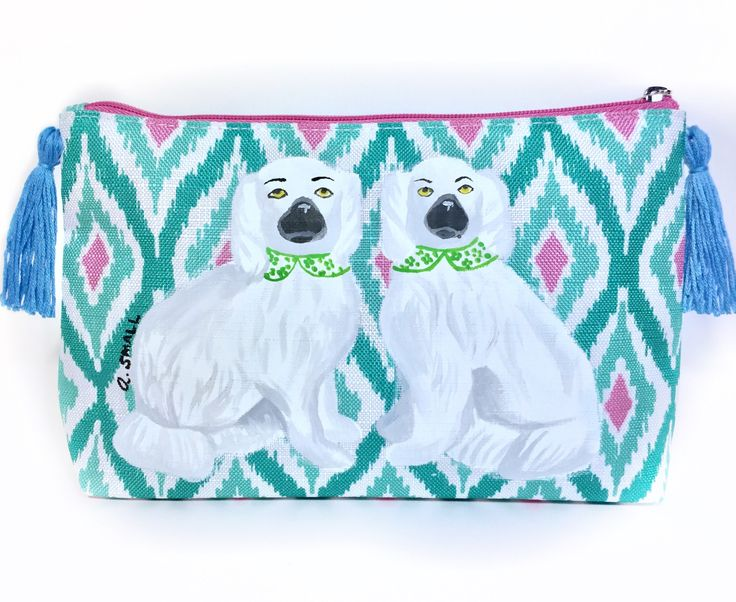 Staffordshire Dogs, Chinoiserie Chic, Dog Toiletry Bag, Pencil Bag Gift, Wife Birthday Gift, Girlfriend Present, Palm Beach Chic, Pet Lover by LemonHouseDesign on Etsy https://www.etsy.com/listing/538465506/staffordshire-dogs-chinoiserie-chic-dog
