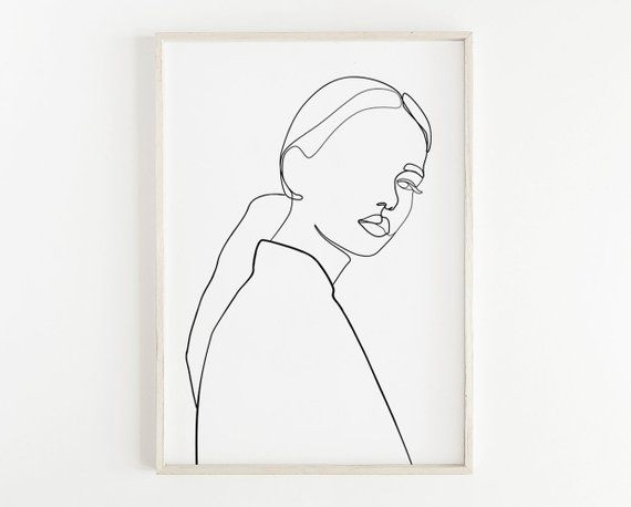 Fashion wall art, One line drawing woman, Beauty print, Hand drawn art, Woman illustration, Line art women, Black and white wall art, Sketch – Annamustermann