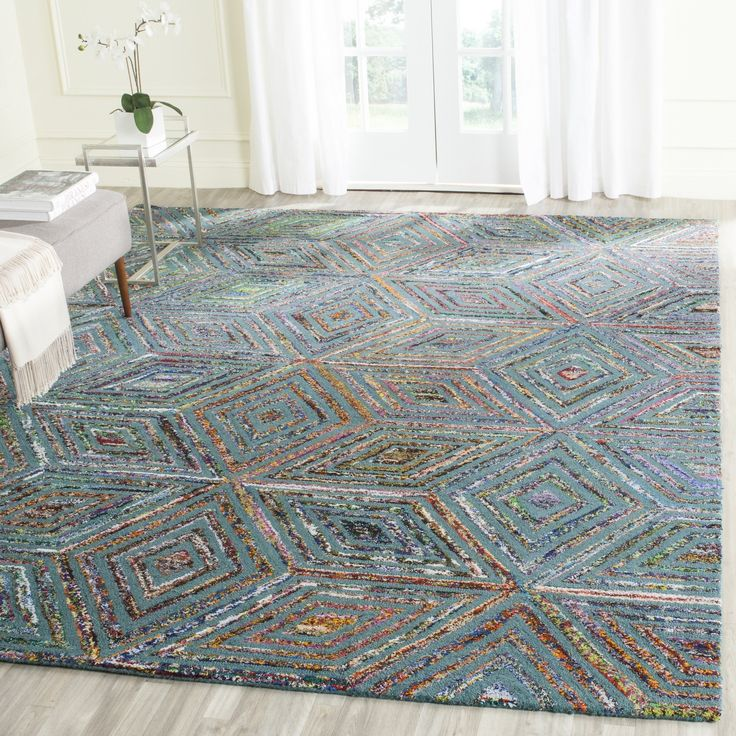 Safavieh Nantucket Collection NAN607A Handmade Abstract Blue