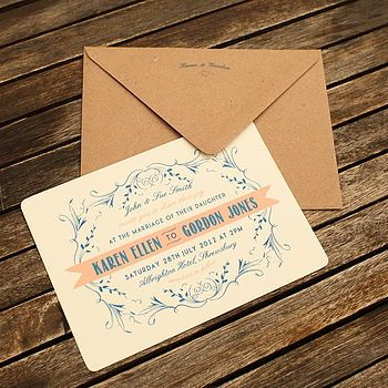 Vintage Coral & Navy Blue Wedding Invitation