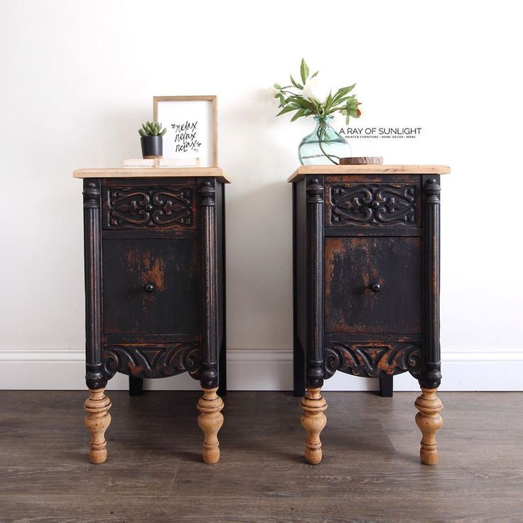 These Black Painted Nightstands Used To Be A Desk We Transformed A Curb Side Fin Painted Bedroom Furniture Black Painted Furniture Black Chalk Paint Furniture
