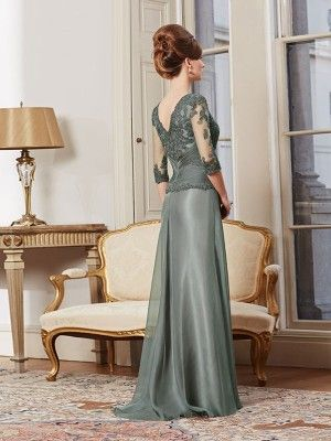 A-line/Princess Square Half Sleeves Lace Floor-Length Chiffon Mother Of The Bride Dresses - Mother of the Bride Dresses 2016 - Mother of the Bride Dresses
