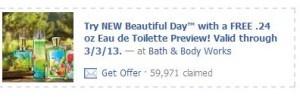 Bath and Body Works coupon for free eau de toilette