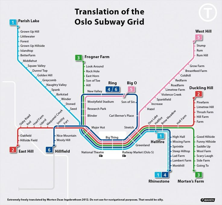 """My former colleague, Morten Daae Ingebrethsen, did this hillarious translation of the Oslo metro map. As directly translated as possible! Names such as """"Storo"""" is translated to """"Big O"""", because """"stor"""" means """"big"""". Funny for us Norwegians, this..."""