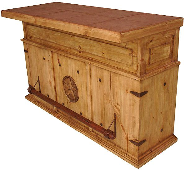 Rustic+furniture | Rustic Furniture - Mexican Rustic Pine Cantina Star Bar with Stone Top