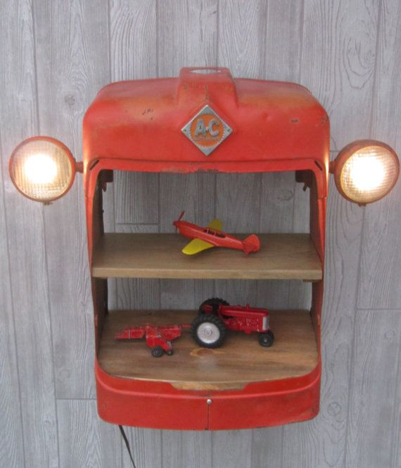 Allis Chalmers - Tractor Grill Shelves - working lights - Man Cave Shelves - Vintage Tractor Grill