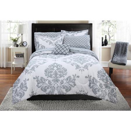 mainstays classic noir grey bed in a bag bedding set walmartcom