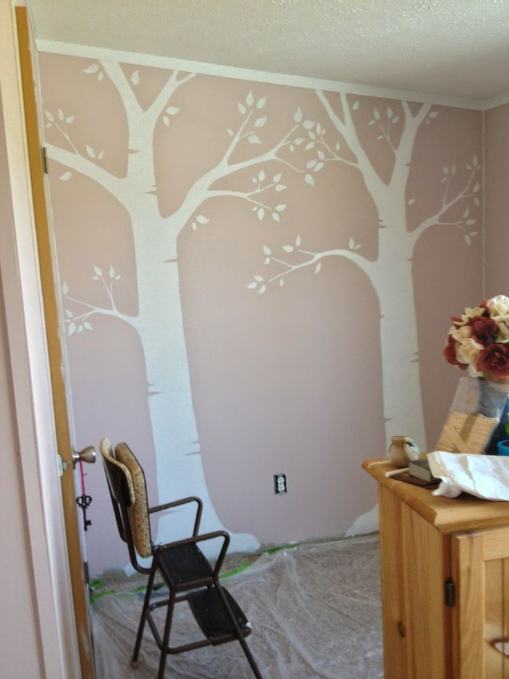 How to Paint Bedroom Wall Trees DIY. Woodland Fairy bed room theme. Birch tree. Nursery Baby