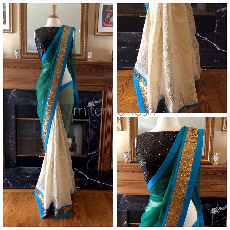 Shimmer Kota with thread embroidery body and banarsi net pallu.