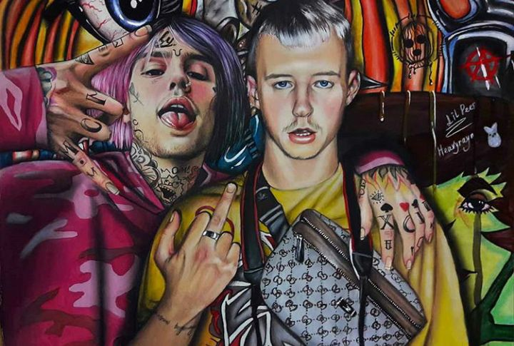 Pastel painting of Lil Peep with his friend.