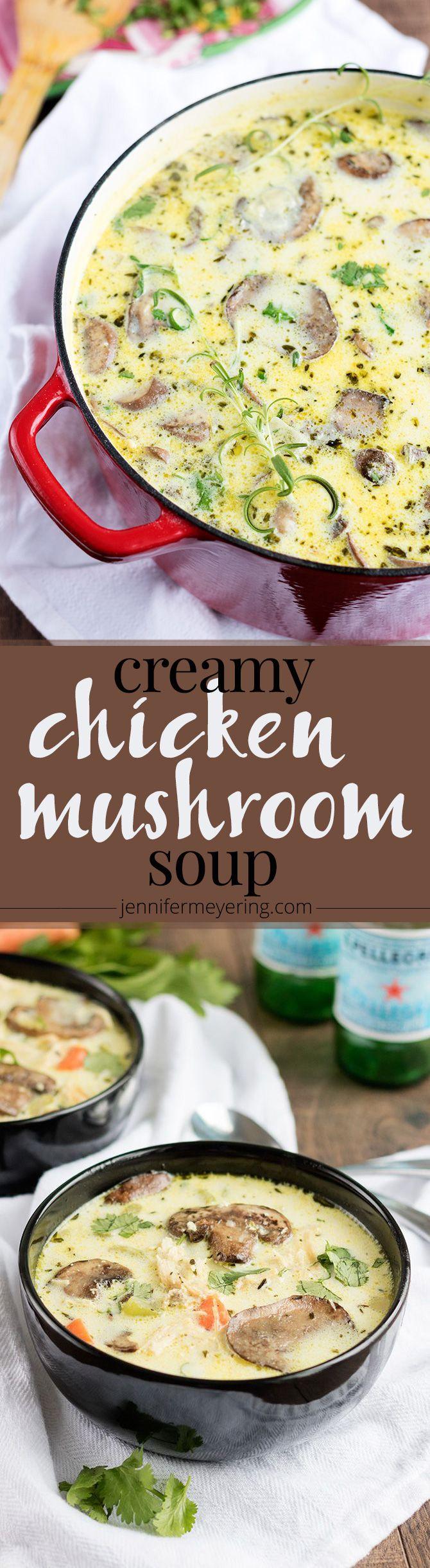 Creamy Chicken Mushroom Soup - JenniferMeyering.com