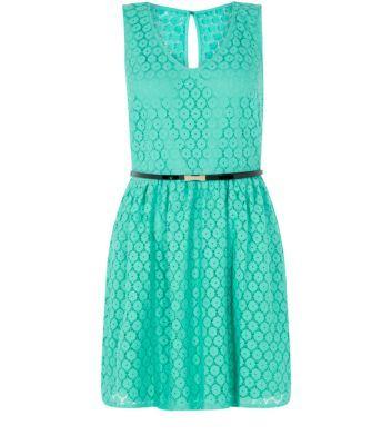 Petite Green V Neck Geo Lace Belted Skater Dress