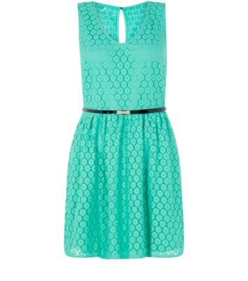 Petite Green V Neck Geo Lace Belted Skater Dress