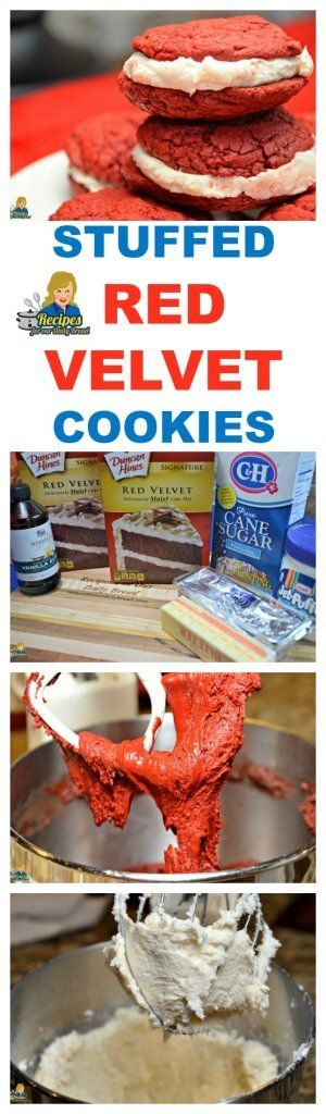 Red Velvet Cookies stuffed with the best filling.  These cake mix cookies are TERRI:FFIC!  http://princesspinkygirl.com/red-velvet-cookies/