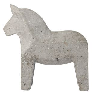 This concrete Dala horse is a modern interpretation of the traditional swedish wooden piece.  Use it as a bookrest or paperweight, or as a statement piece on its own!  Measures 16.75 cm long and 16.5 cm tall.