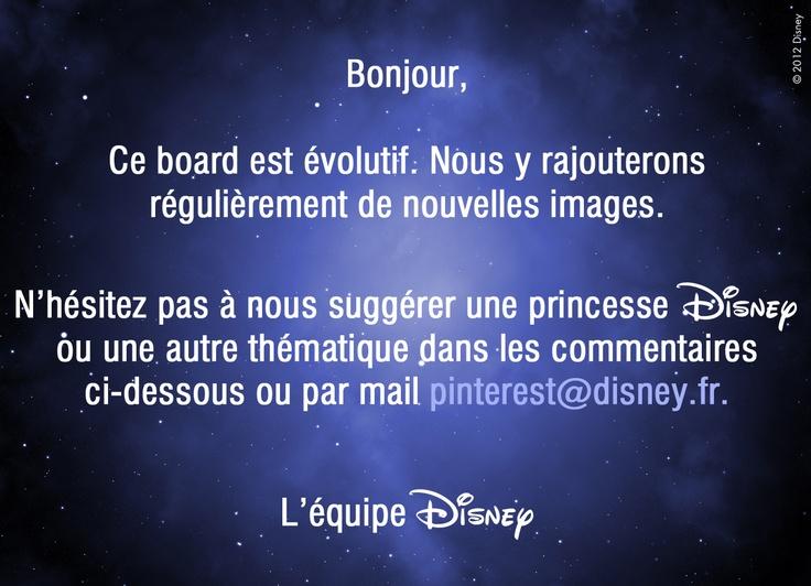 Vous ne retrouvez pas votre princesse préférée dans ce board ? N'hésitez pas à nous la suggérer en nous laissant un commentaire ci-dessous ou par email à pinterest@disney.fr.
