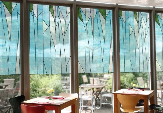 What a fabulous set of translucent shades in an Abstract Forest Design against a blue sky - Sheer covering / Stained glass effect for window décor. Korean fabric art, Jogakbo by artist Jessica Yoo, working in Seoul and selling on etsy as DesignMeem #shadeproject