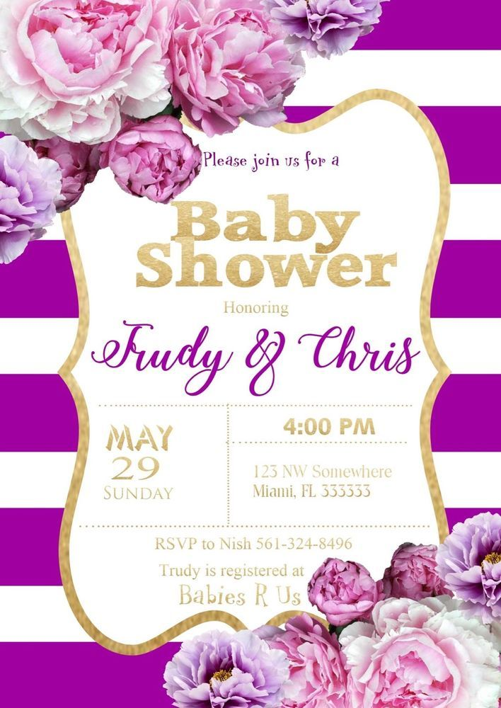 9 best Baby shower invitations purple and gold images on Pinterest ...